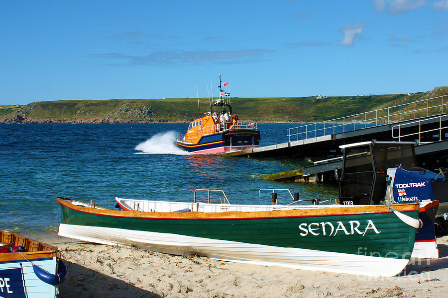 Land's End Photograph - Sennen Cove Lifeboat And Pilot Gigs by Terri Waters
