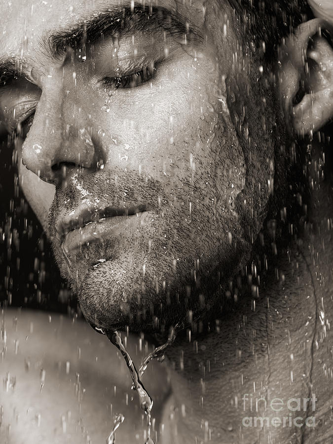 Sensual Portrait Of Man Face Under Pouring Water Black And White Photograph