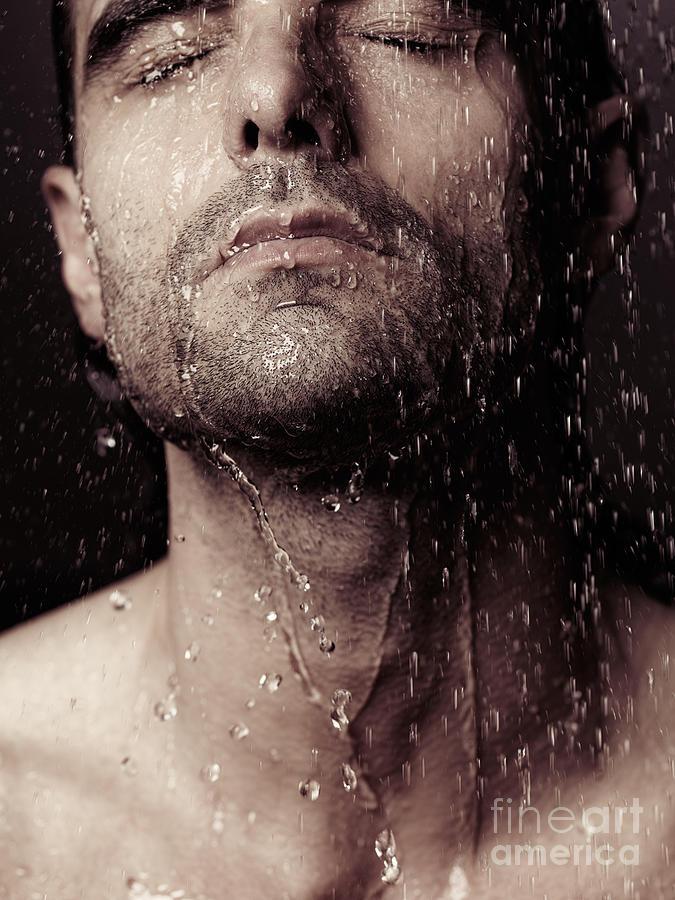 Sensual Portrait Of Man Face Under Shower Photograph