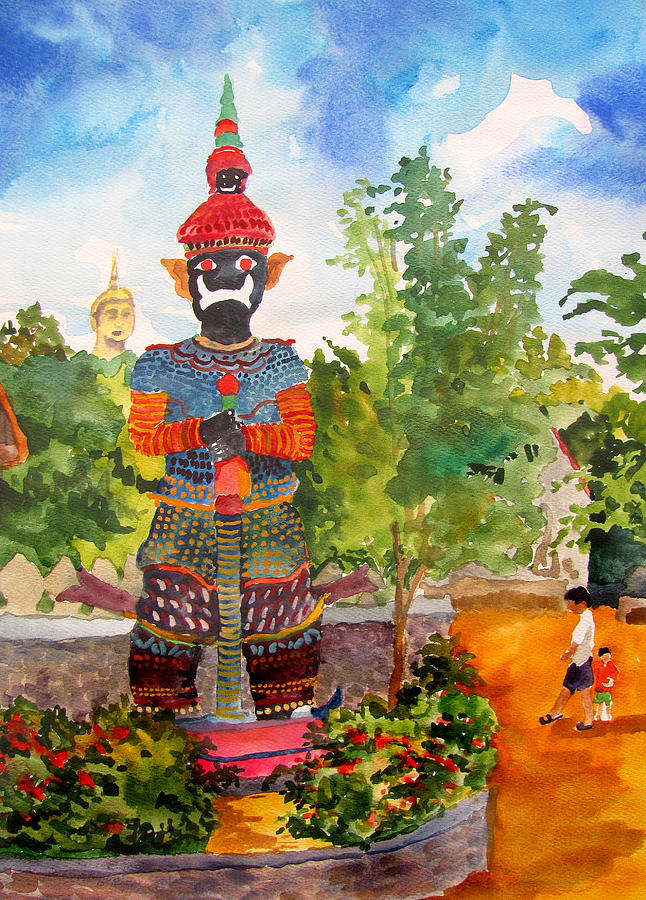 Statue Buddhist Landscape Thailand Trees Figure Foliage Scenery Nature Flowers Design Pattern Portrait Painting - Sentry by James Huntley