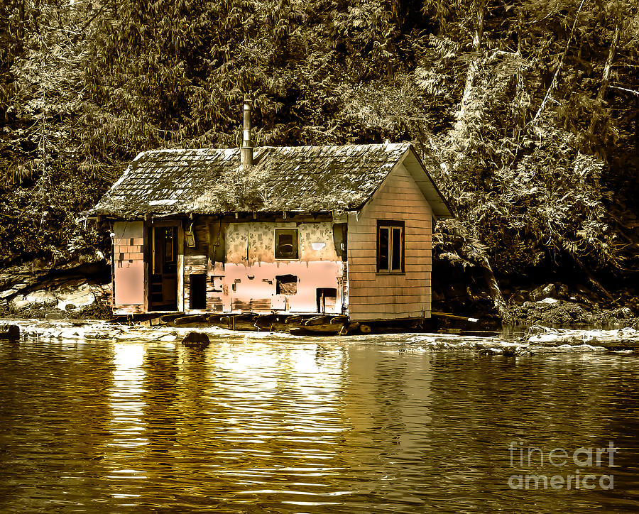 Sepia Floating House Photograph