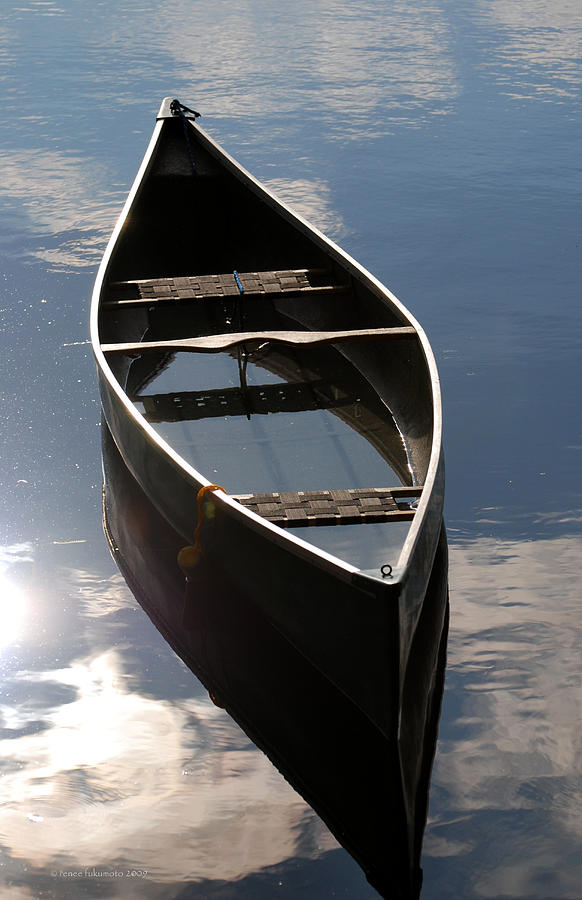 Serene Canoe With Sky Photograph  - Serene Canoe With Sky Fine Art Print