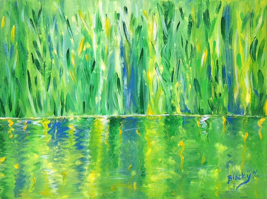 Serenity In Green Painting By Donna Blackhall