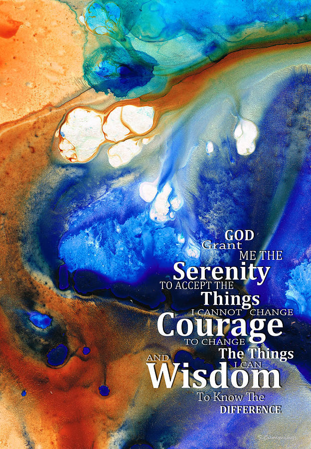 Serenity Prayer 4 - By Sharon Cummings Painting  - Serenity Prayer 4 - By Sharon Cummings Fine Art Print