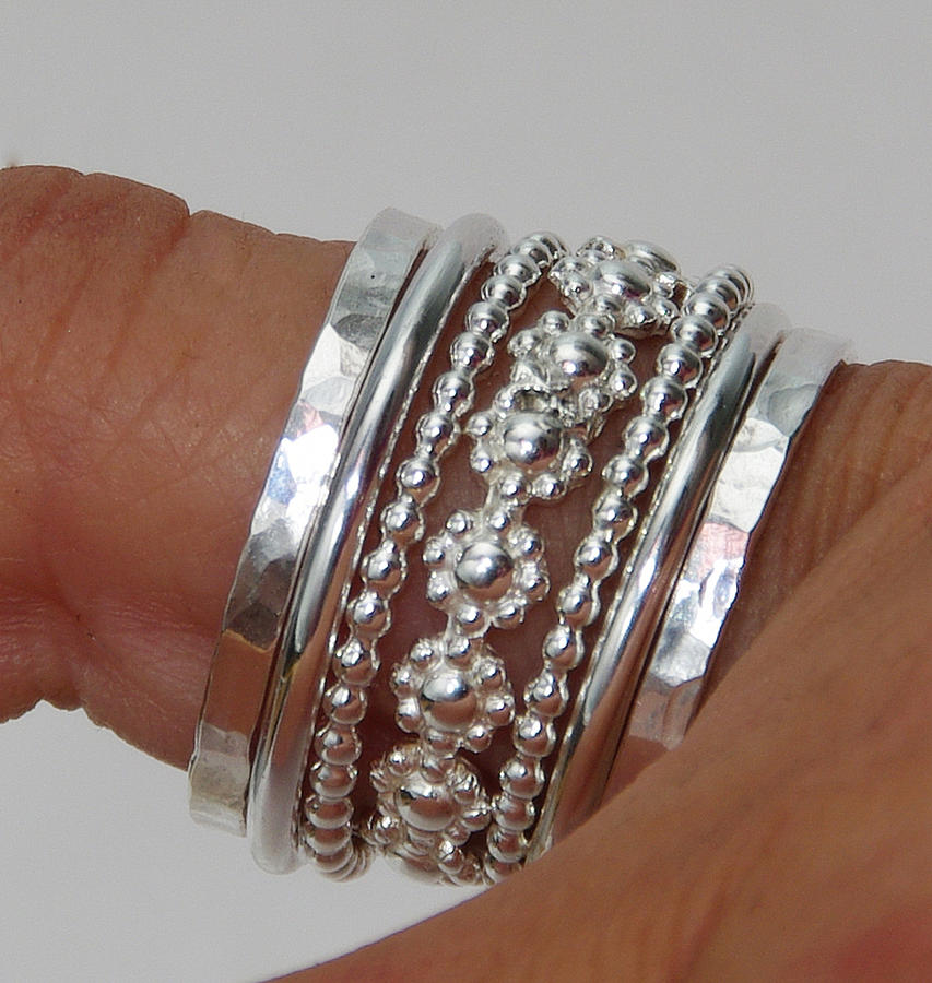 Daisy Stackable Rings Jewelry - Set Of Stacking Rings Sterling Silver Bold Band Of Daisy Flowers Between Dotted And Hammered Bands by Nadina Giurgiu
