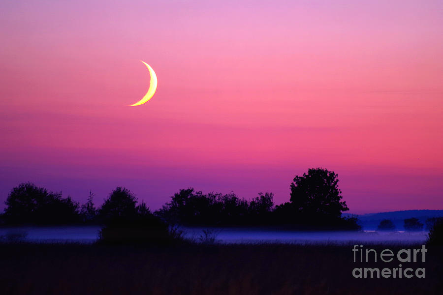 Setting Crescent Moon At Dusk Photograph  - Setting Crescent Moon At Dusk Fine Art Print