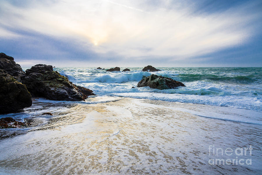 Setting Sun And Rising Tide Photograph  - Setting Sun And Rising Tide Fine Art Print