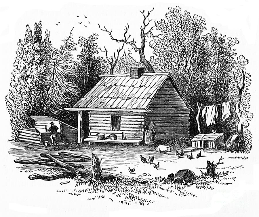 Settler 39 s log cabin 1878 drawing by art mackay Cabin drawings