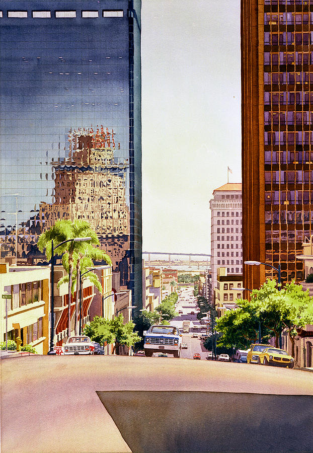 San Diego Painting - Seventh Avenue In San Diego by Mary Helmreich