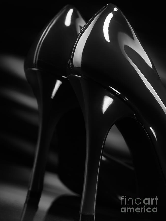 Sexy Black High Heel Shoes Closeup Photograph