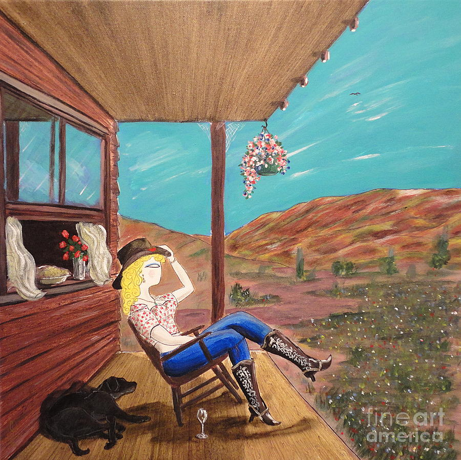 Sexy Cowgirl Sitting On A Chair At High Noon Painting  - Sexy Cowgirl Sitting On A Chair At High Noon Fine Art Print