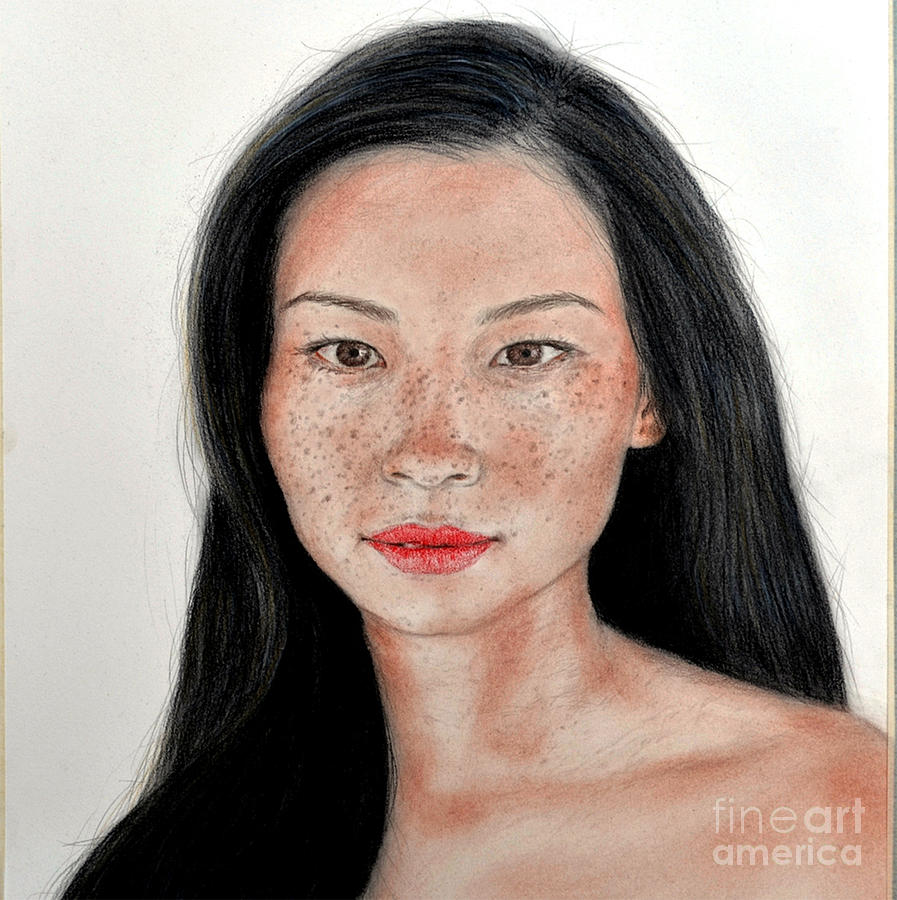 Sexy Freckle Faced Beauty Lucy Liu Drawing  - Sexy Freckle Faced Beauty Lucy Liu Fine Art Print