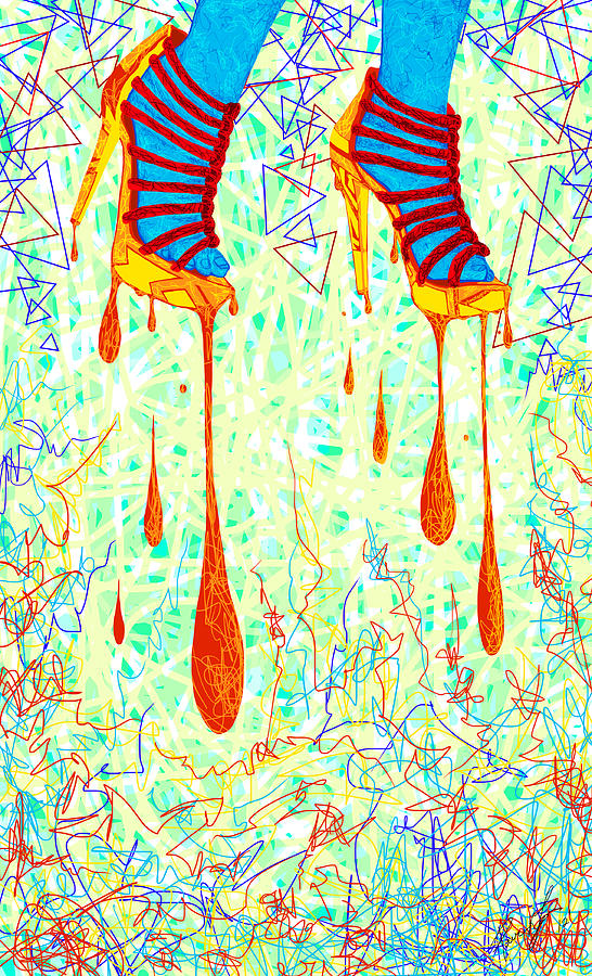 Sexy High Heels Gold Abstraction Drawing  - Sexy High Heels Gold Abstraction Fine Art Print