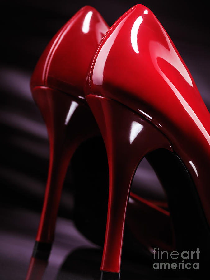 Sexy Red High Heel Shoes Closeup Photograph
