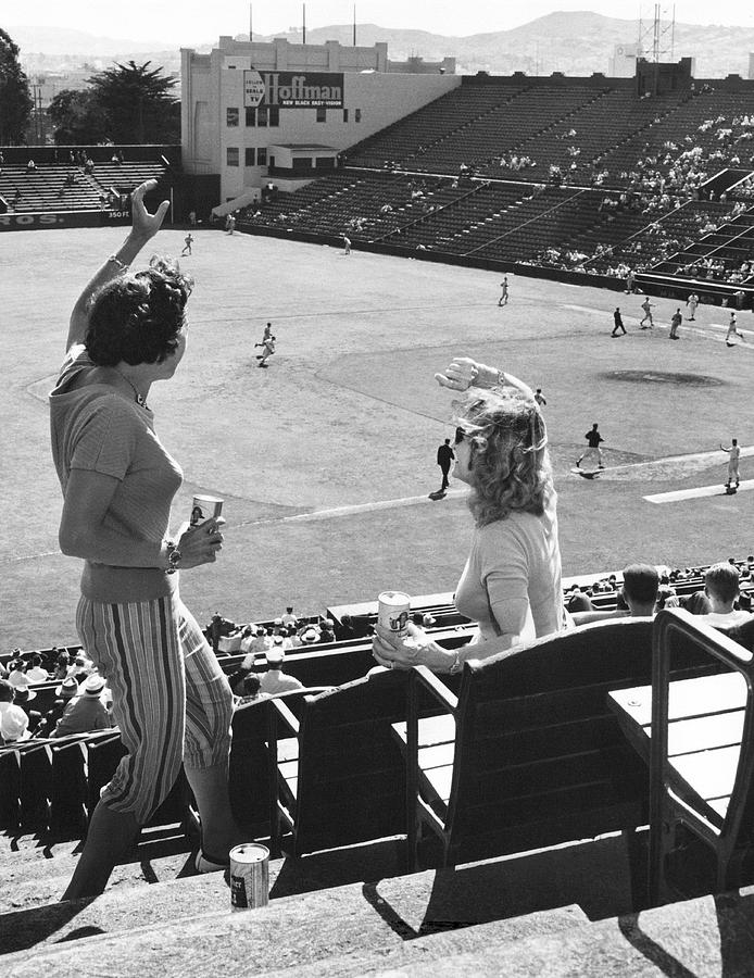 1950's Photograph - Sf Giants Fans Cheer by Underwood Archives