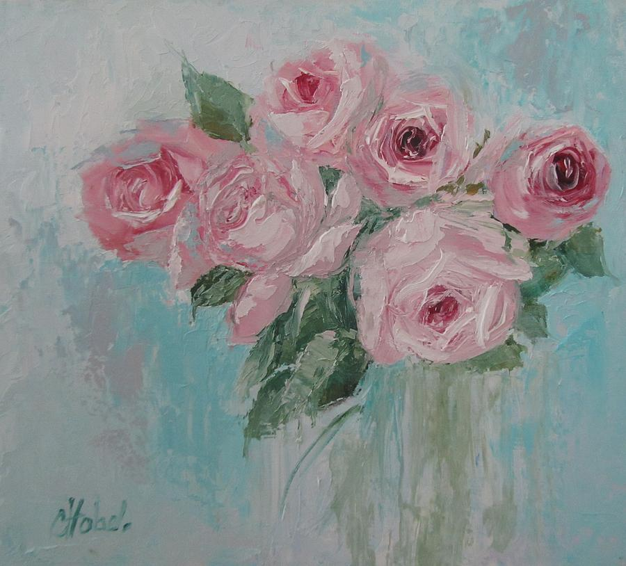 shabby chic pink roses oil palette knife painting painting by chris hobel. Black Bedroom Furniture Sets. Home Design Ideas