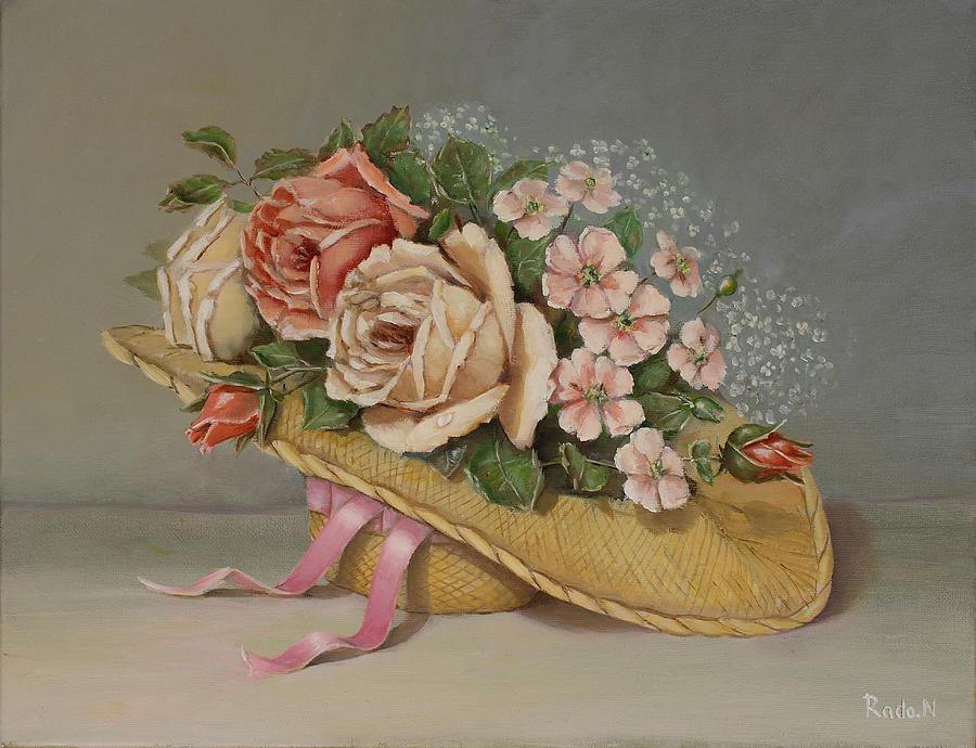 Roses Painting - Shabby Chic Roses by Radoslav Nedelchev