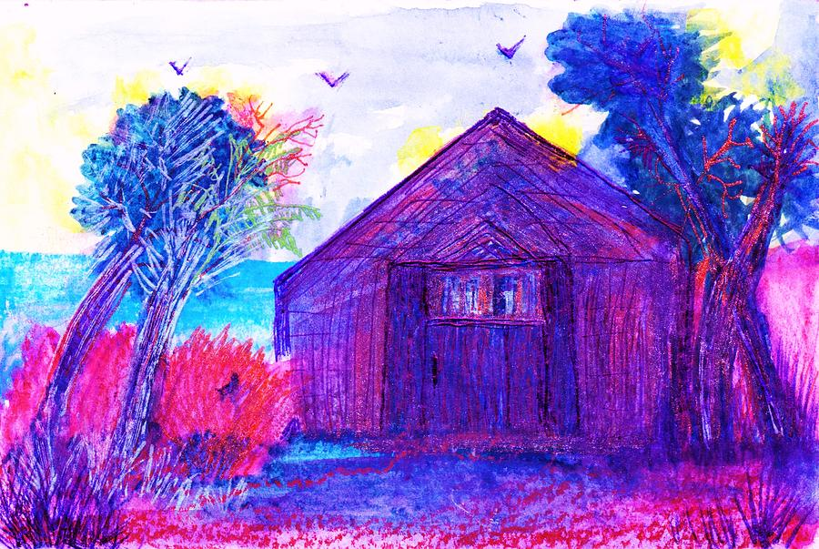Shack And Trees By The Water Painting