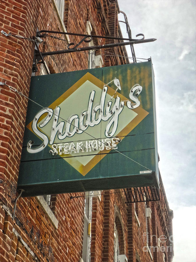 Old Brick Building Photograph - Shaddys Steakhouse Sign Montezuma Iowa by Gregory Dyer