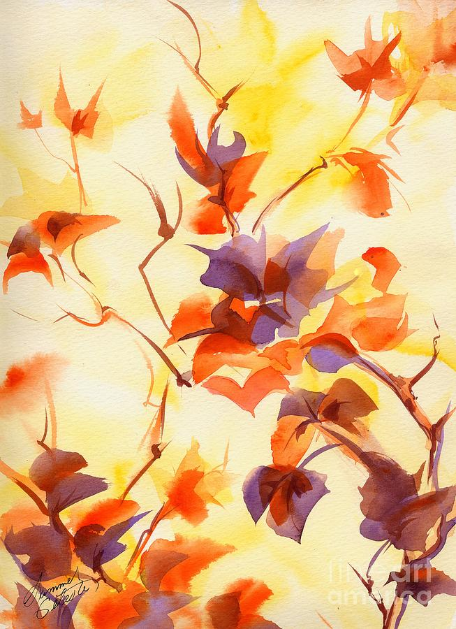 Landscape Painting - Shadow Leaves by Summer Celeste