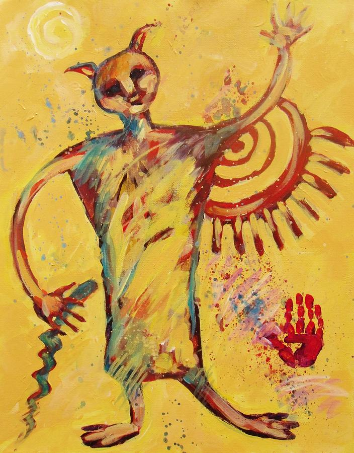 Cave Art Painting - Shaman Greetings by Carol Suzanne Niebuhr