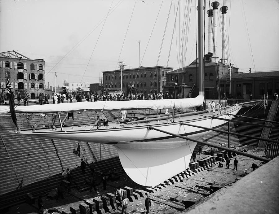 Shamrock 3 In Dry Dock 1903 Photograph