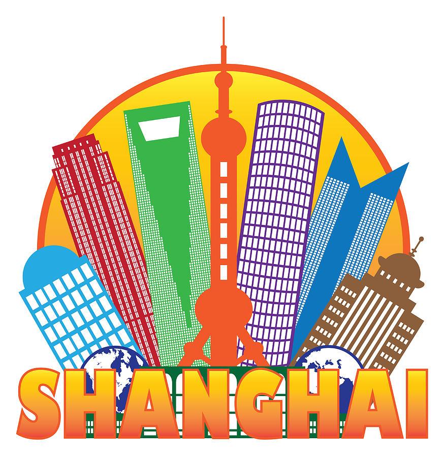 Shanghai City Skyline Color Circle Outline Illustration Photograph by ...