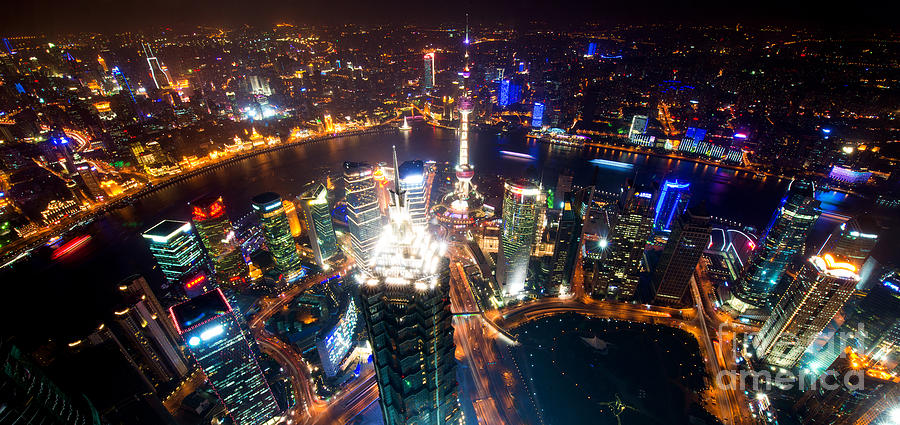 Shanghai Night Scenery Photograph By Yew Kwang