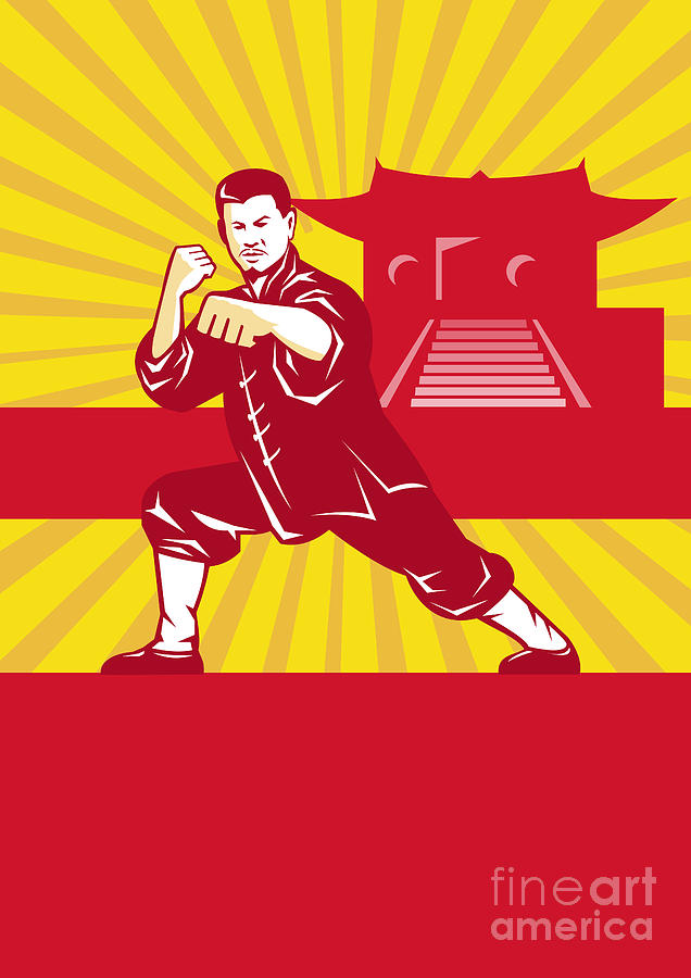Shaolin Kung Fu Martial Arts Master Retro Digital Art