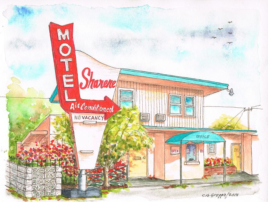 Sharene Motel In Route 66 - San Bernardino - California Painting