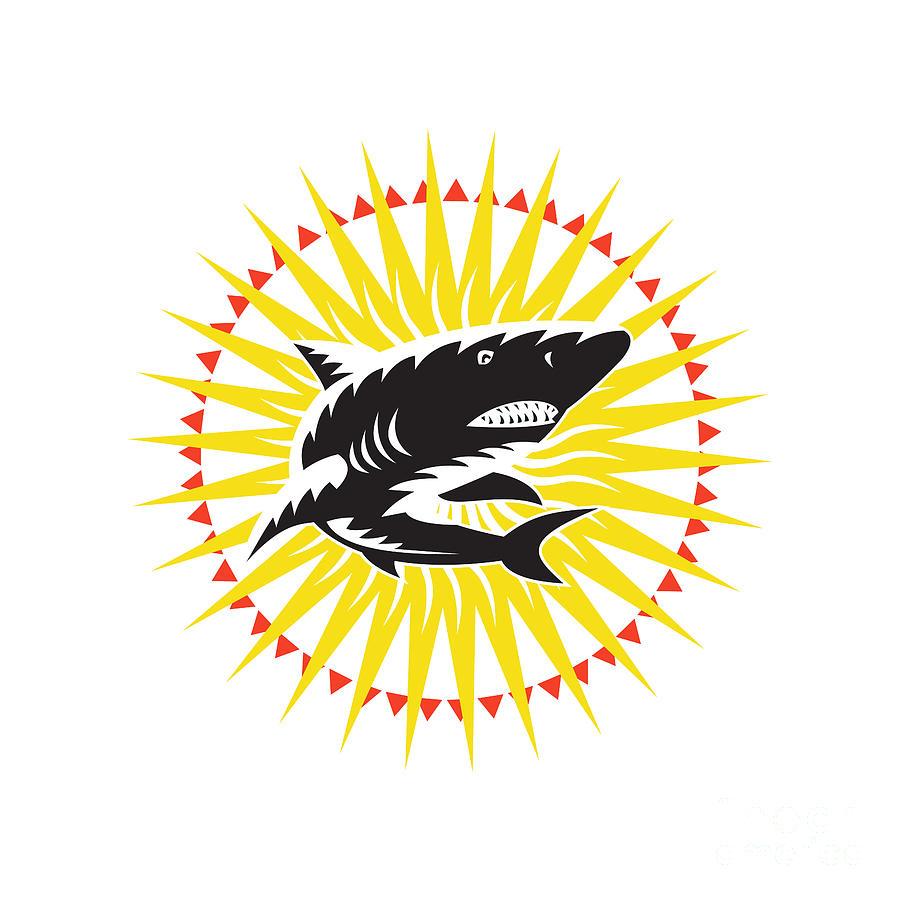 Shark Swimming Up Sunburst Woodcut Digital Art