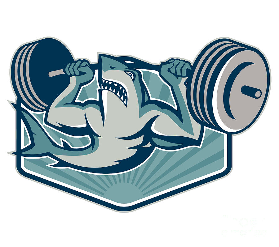 Shark Weightlifter Lifting Weights Mascot Digital Art  - Shark Weightlifter Lifting Weights Mascot Fine Art Print