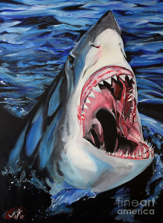 Great White Shark Awesome Jaws Ocean Sea Cool Gigantic Deadly Scary Attack Sweet Cool Amazing Large Killer Teeth  Painting - Sharks Get Smart by Lambert Aaron