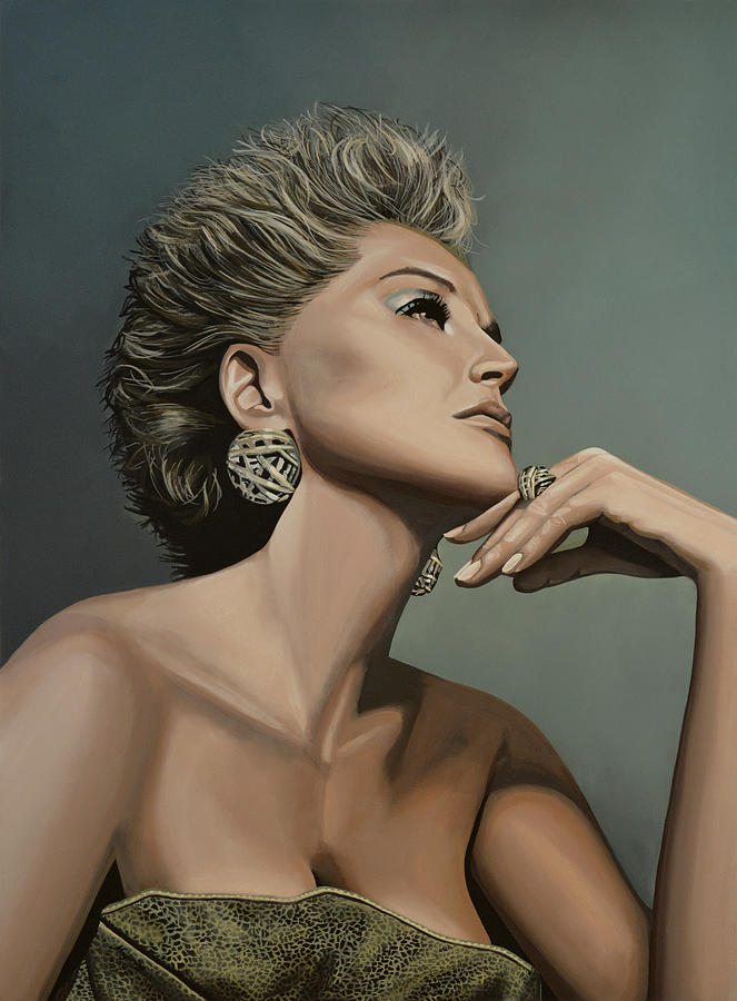 Sharon Stone Painting  - Sharon Stone Fine Art Print