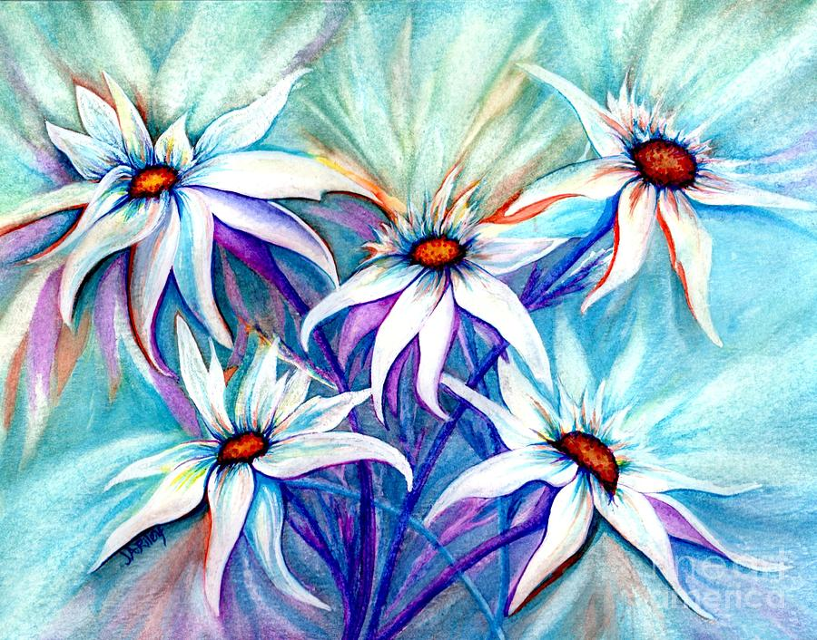 Daisy Painting - Shasta Daisy Dance by Janine Riley