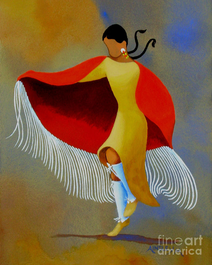 Indian Painting - Shawl Dancer by Ainsley McNeely