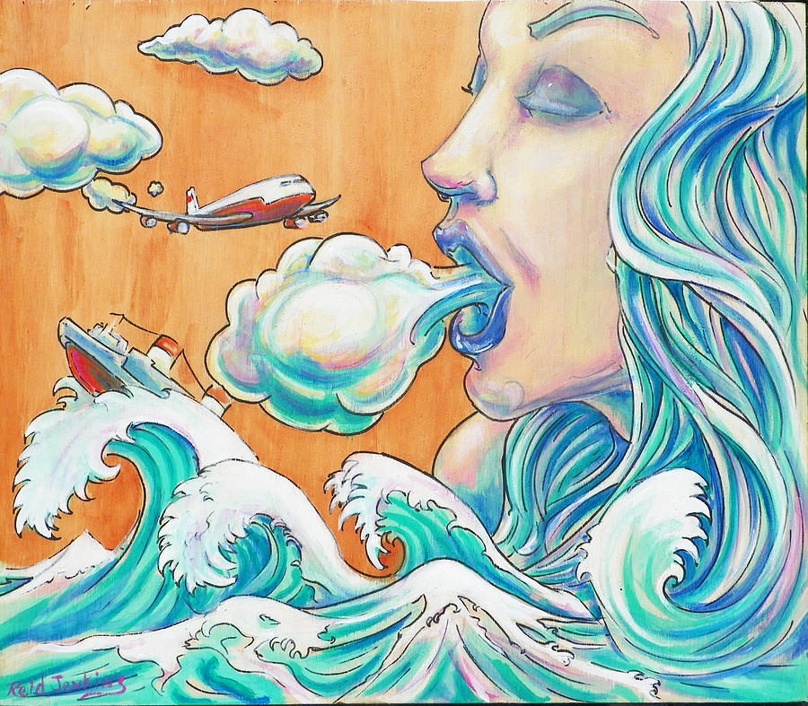 She Blows Mixed Media  - She Blows Fine Art Print