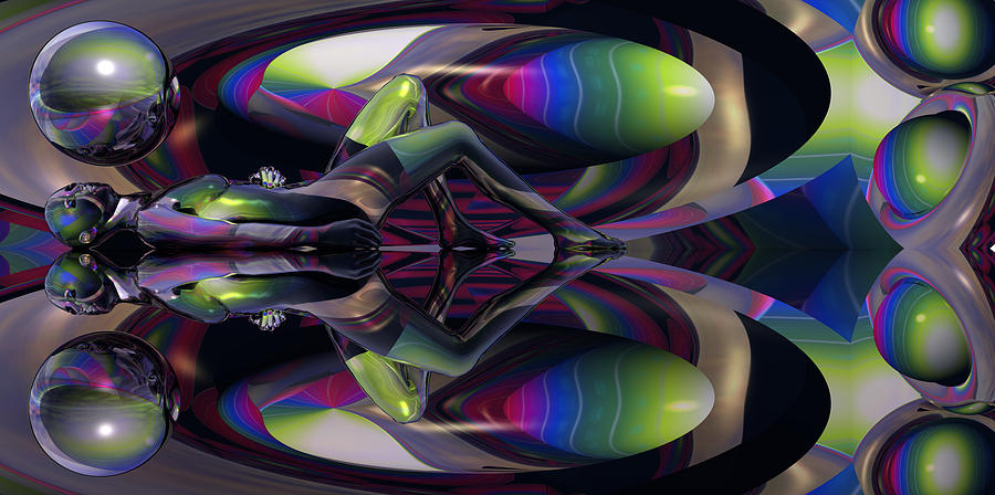 She Comes In The Kaleidoscope Camouflage Of Double 07 - The Downfall Of Every Man Digital Art  - She Comes In The Kaleidoscope Camouflage Of Double 07 - The Downfall Of Every Man Fine Art Print