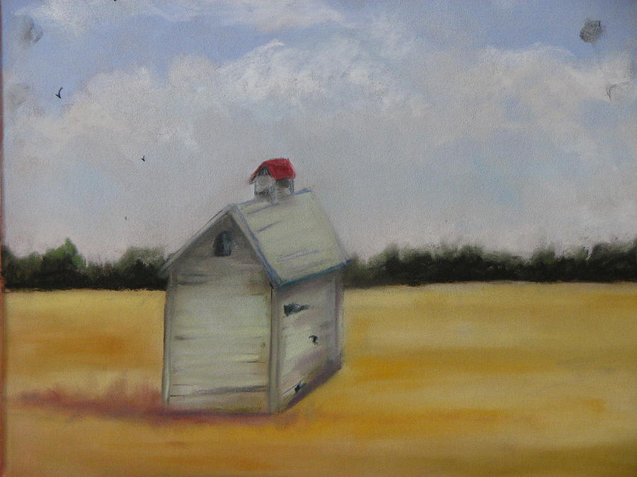 Shed On Yellow Field Pastel  - Shed On Yellow Field Fine Art Print