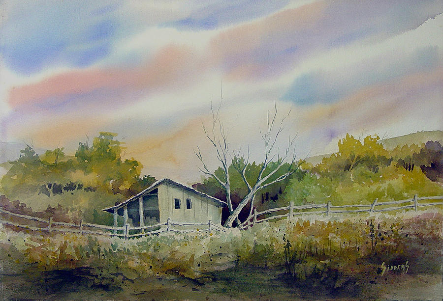 Shed Painting - Shed With A Rail Fence by Sam Sidders