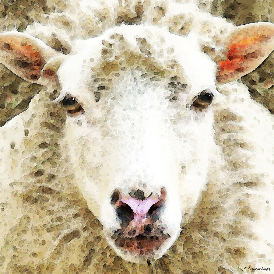 Sheep Art - White Sheep Painting  - Sheep Art - White Sheep Fine Art Print