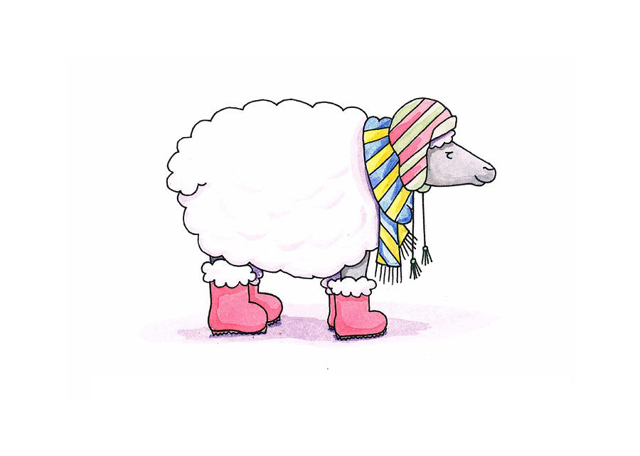 Sheep In A Scarf Painting