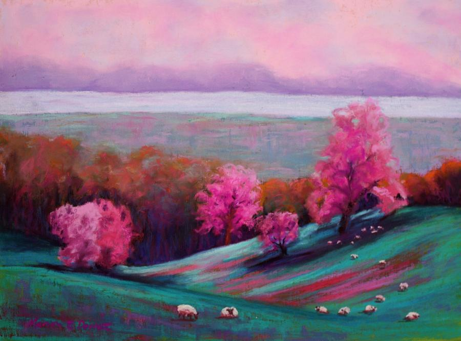 Sheep On The Hillside Pastel  - Sheep On The Hillside Fine Art Print