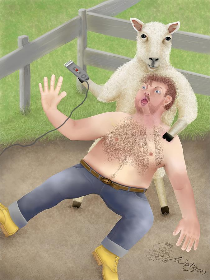 Sheep Shearing Digital Art