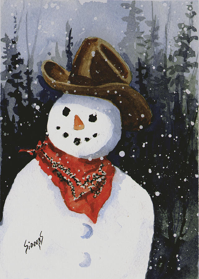 Snow Painting - Shellys Snowman by Sam Sidders