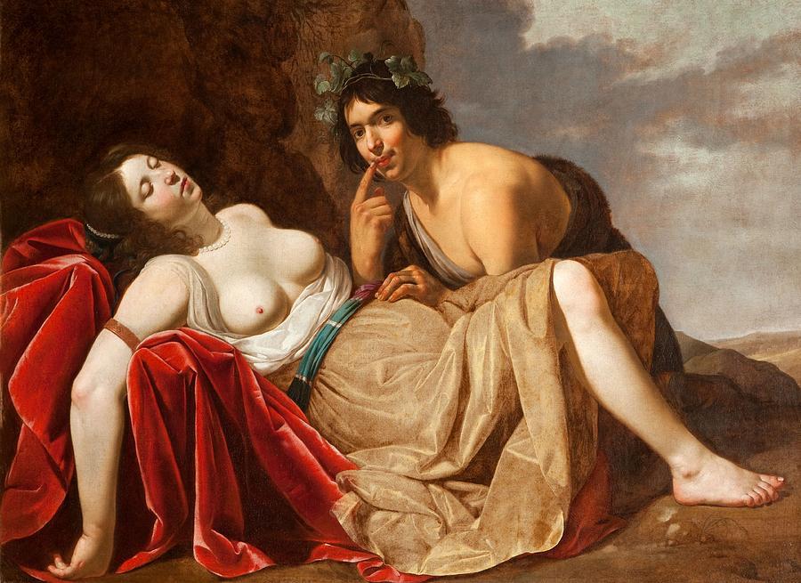 Shepherd And Sleeping Girl, 1623-30 Painting