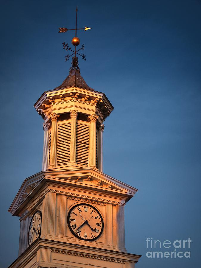 Shepherd University - Mcmurran Clock Tower At Twilight Photograph  - Shepherd University - Mcmurran Clock Tower At Twilight Fine Art Print