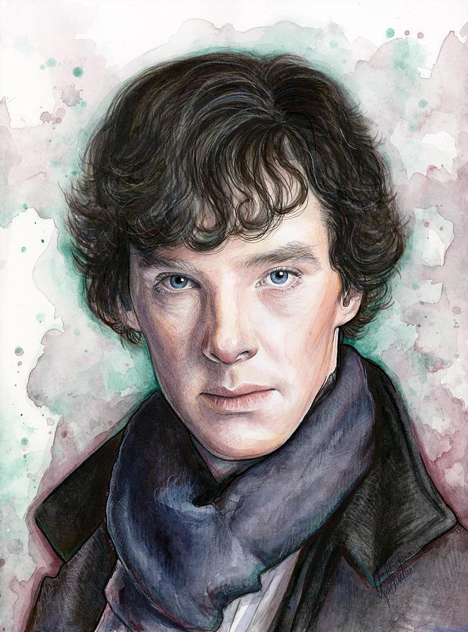 Sherlock Holmes Portrait Benedict Cumberbatch Painting