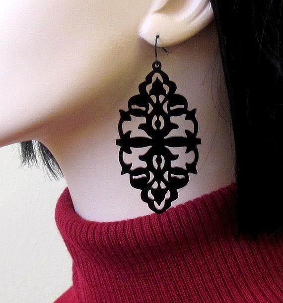 Shes A Mystery - Victorian Lace Statement Earrings Jewelry
