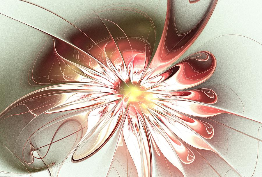 Shining Pink Flower Digital Art